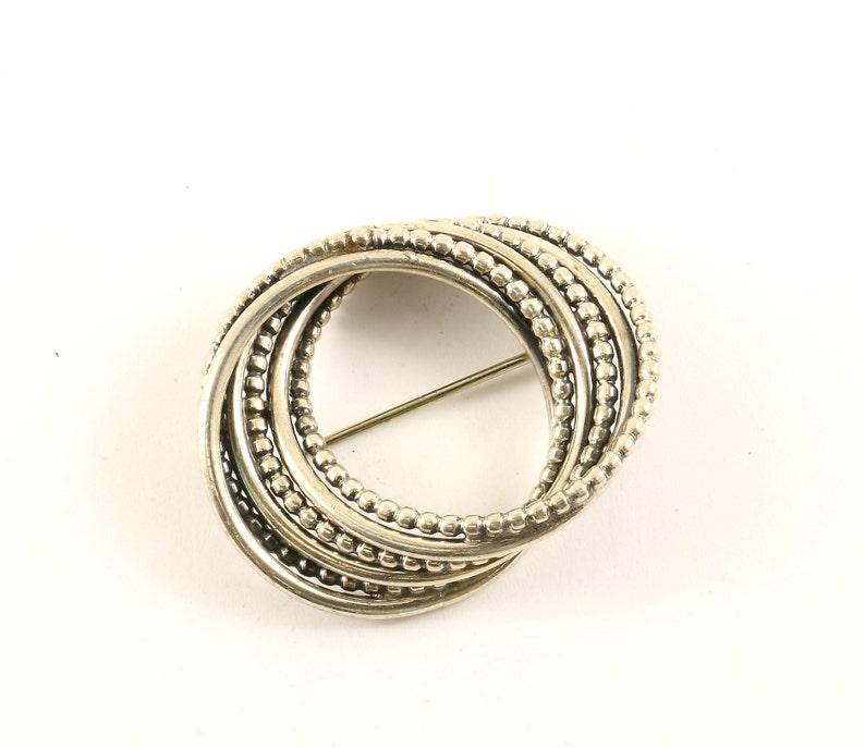 Vintage Beautiful Beau Designer Round Circle Swirl Design PinBrooch 925 Sterling BB 1510