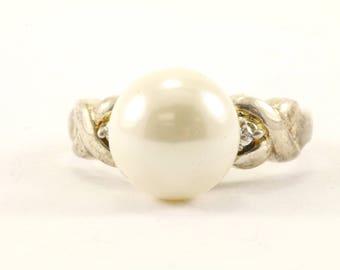Vintage Pearl Imitation CZ Ring 925 Sterling RG 2765