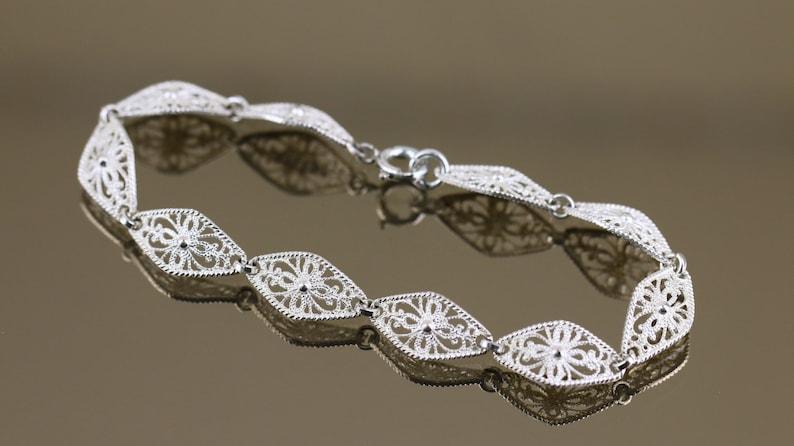 Vintage Shiny Thin Dainty Filigree Flat Design Link Chain Bracelet 925 Sterling Silver BR 3108