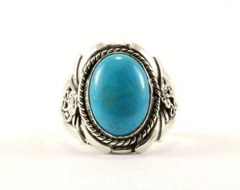 Vintage Turquoise Flower Design Ring 925 Sterling RG 3607