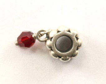 Vintage Red Crystal Dangle Charm Sterling 925 CH 445