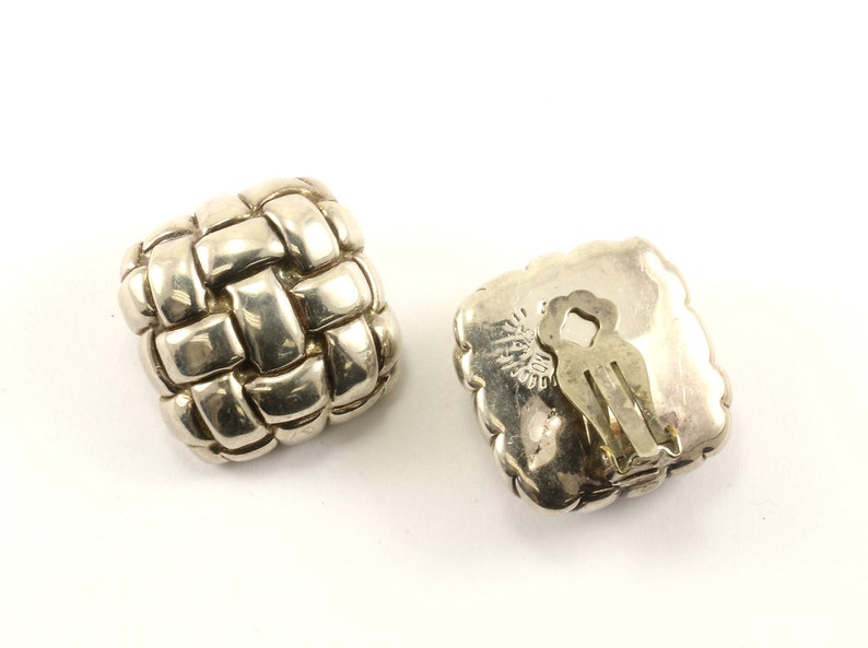 Vintage Large Cushion Braided Design Clip On Earrings 925 Sterling Silver ER 1038