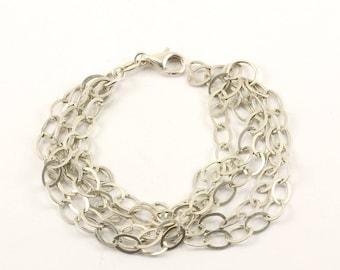 Vintage Italy Five Chains Bracelet 925 Sterling BR 1765-E