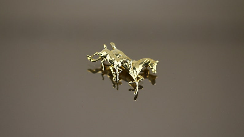 Vintage Beautiful Shiny Horse Horses Mom and Child Gold Plated Design Brooch Sterling Silver 925 BB 2200