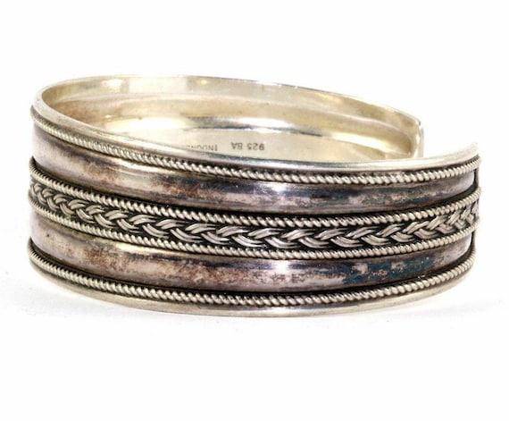 123720997418 Vintage Woven Braided Cuff Bracelet 925 Sterling Br 2048