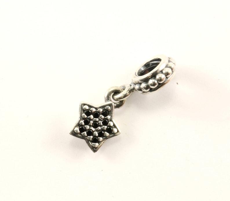 4749d825c Authentic Pandora Pavé Star Black Crystals 791024 Dangle | Etsy