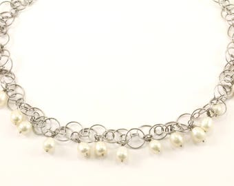 Vintage Beautiful Dangling Design Beads Faux Pearls Necklace 925 Sterling Silver NC 896