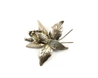 Vintage Exotic Flower Shape Pin/Brooch 925 Sterling BB 742-E