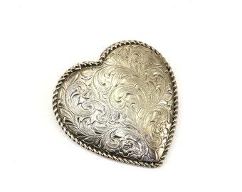 Vintage Heart Shape Etched Floral Design Pendant 925 Sterling Silver PD 451