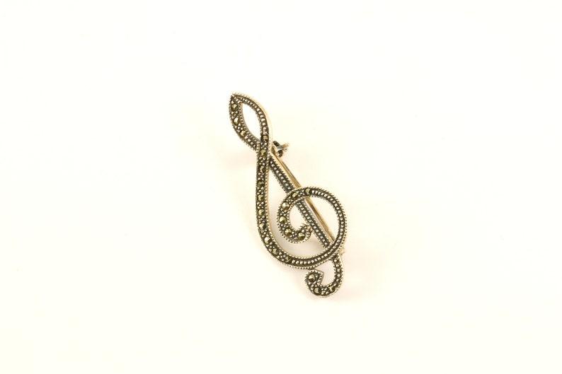 Vintage Beautiful Music Sol Key Marcasite Design PinBrooch 925 Sterling BB 225