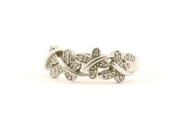 Vintage White Crystals Floral Design Ring 925 Sterling Silver RG 686-E