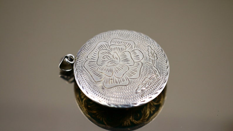 Vintage Large Round Shape Sun Maya Tribe Two Sided Floral Design Pendant 925 Sterling Silver PD 3
