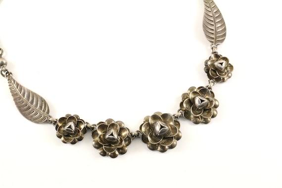 Vintage Beautiful Rose 3D Flower Design Necklace 925 Sterling Silver NC 826
