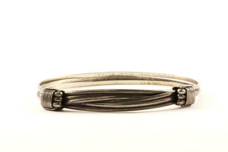 Vintage Wire Cable Design Bangle Bracelet Sterling Silver Br 2534 123759778183