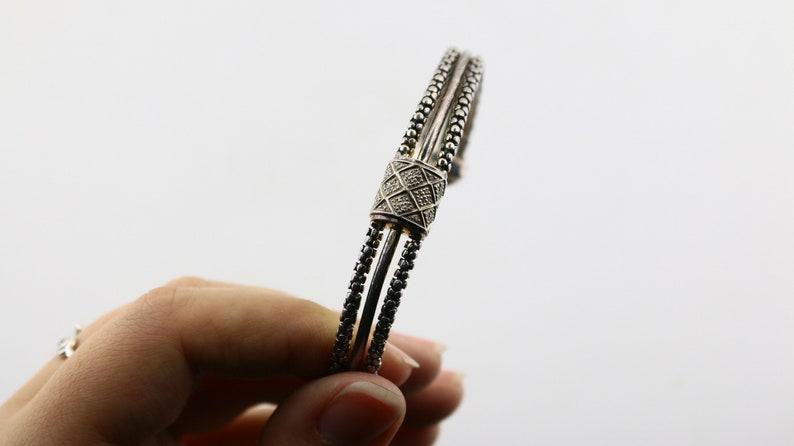 Vintage Michael Dawkins Diamond Pave Design Cuff Bracelet 925 Sterling Silver BR 2543A