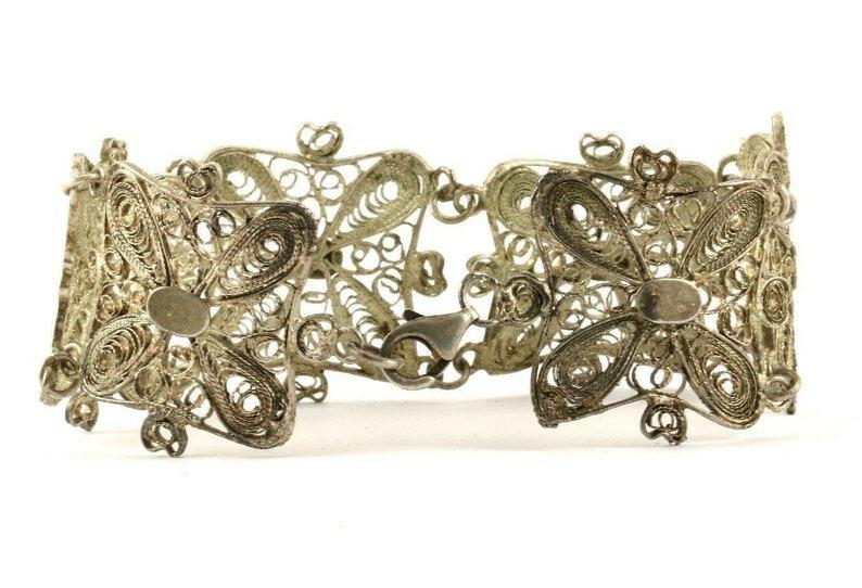 123720997226 Vintage Scroll Design Filigree Link Bracelet 925 Sterling Br 1391
