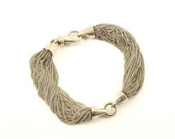 Vintage Multi Chain Design Link Bracelet 925 Sterling BR 2790