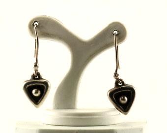 Vintage Heart Shaped Drop Dangle Earrings Sterling Silver ER 499