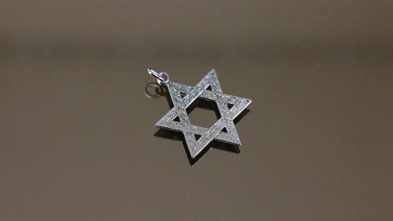 Vintage Flat Shiny Israel Star Of David Jewish Sign Design Pendant 925 Sterling PD 2911