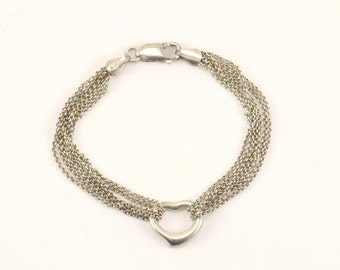 Vintage Italy Heart Six Chains Bracelet 925 Sterling BR 2223