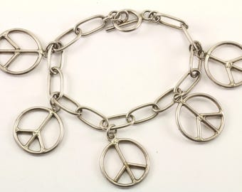 Vintage MX Peace Charms Bracelet 925 Sterling BR 2207