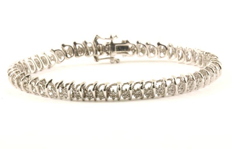 Vintage Natural Diamonds Floral Link Bracelet Sterling Silver BR 1180