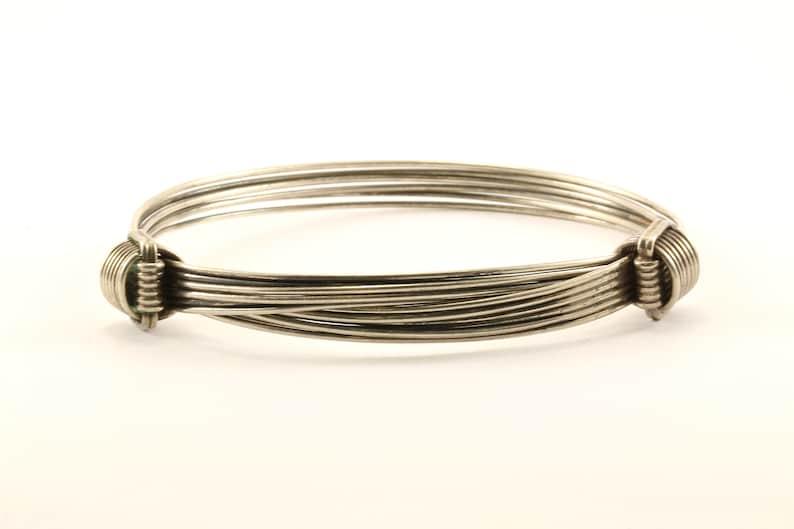 Vintage Beautiful Wire Cable Design Bangle Bracelet 925 Sterling BR 2205