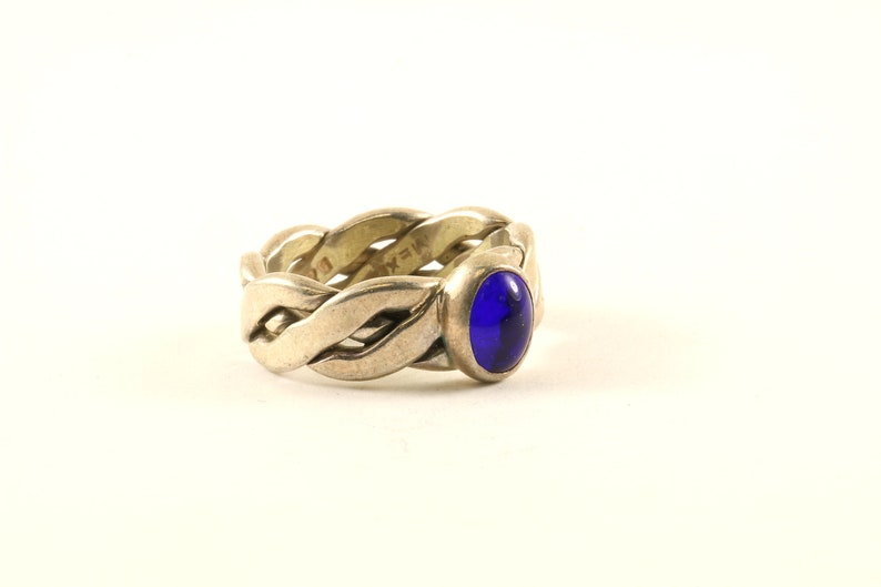 Vintage Sapphire Color Crystal Twisted Braided Design Ring 925 Sterling Silver RG 4248