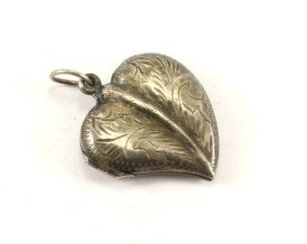 Vintage Heart Shaped Locked Pendant 925 Sterling PD 1307