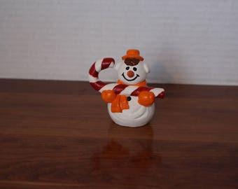 Bisque Snowman with candy cane hand painted