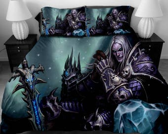 3 Pcs 3d Wow World Of Warcraft Bedding Set Wow Pattern Duvet Etsy