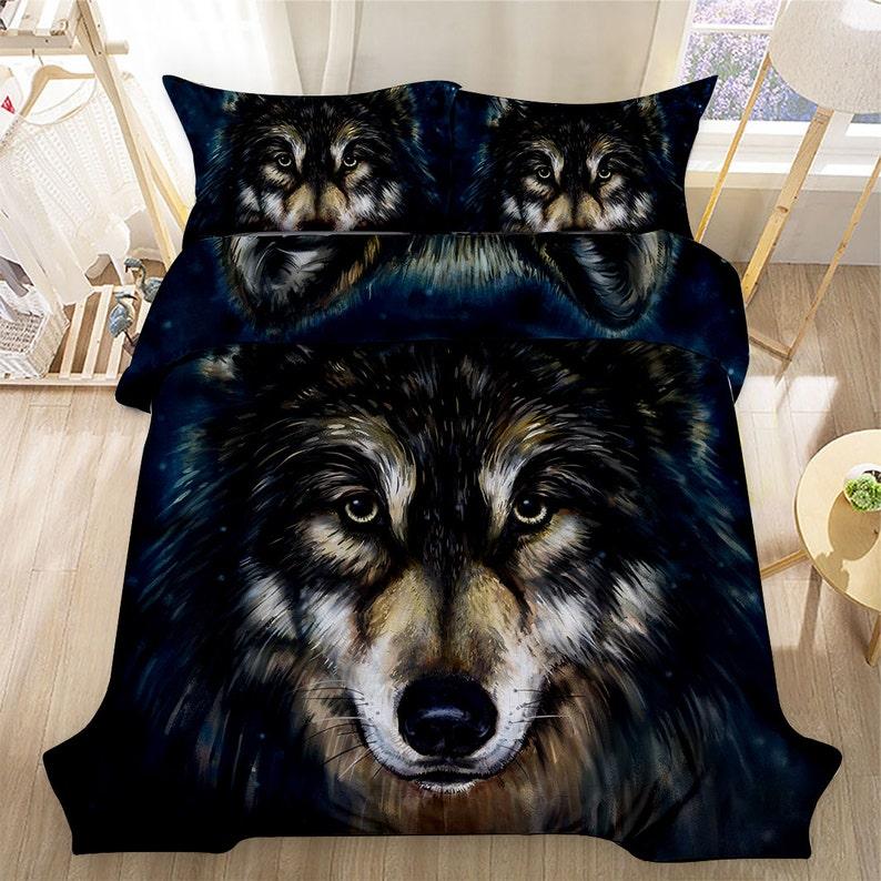 Zwilling Voller Queen Größe Wolf Muster Bettwäsche Set 3 Stück Etsy