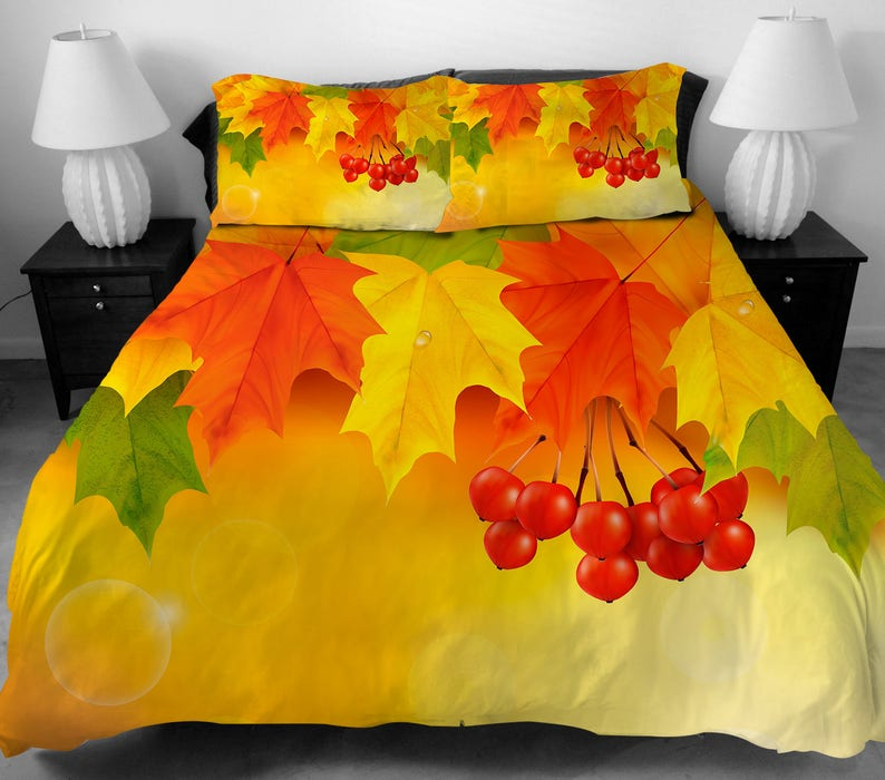 bd1e5e488 4 Pcs Maple leaves Pattern Bedding Set Twin Full Queen King