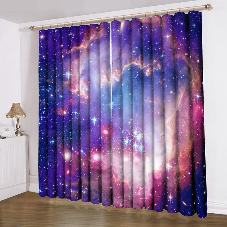 1 Pair Sheer Curtain Voile Lucy Eyelet Ring Window Curtain Purple Galaxy tab top 63\u2018\u2019 84\u2018\u2019 98\u2018