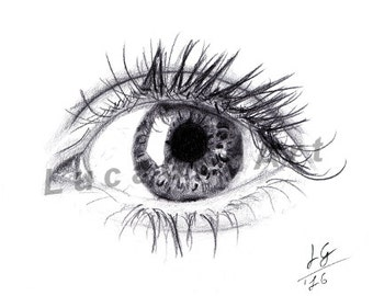 Eye handmade Drawing, Instant Download, Digital Print, Made in pencil and charcoal, Realistic Drawing