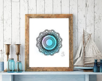 Mandala Digital Drawing, Digital Print, Decoration, Mandala Poster, Art Print, Meditation, Mandala Art, Yoga, Zen Art
