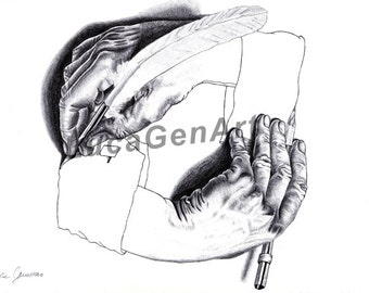 Drawing Hands (Escher) handmade Drawing, Instant Download, Digital Print, Made in pencil, charcoal and ink, Realistic Drawing