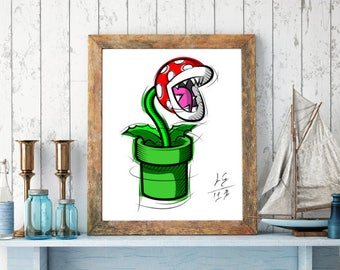 Piranha Plant from Super Mario, Digital Drawing, Digital Print, Decoration, Nintendo Art, Games Art, Videogames Illustration