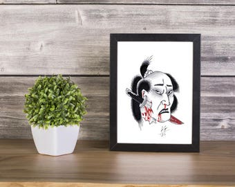 Namakubi handmade Drawing, Digital Print, Art Print, Made in pencil, charcoal and ink, japanese art