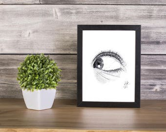 Eye handmade Drawing, Digital Print, Art Print, Made in pencil and charcoal, Realistic Drawing