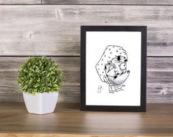 Hyottoko handmade Drawing, Digital Print, Art Print, Made in pencil, charcoal and ink, japanese art