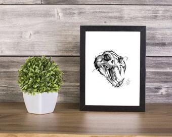 Tiger Skull Handmade Drawing, Digital Print, Art Print, Made in pencil, charcoal and ink, Tattoo Sketch, Tattoo Flash
