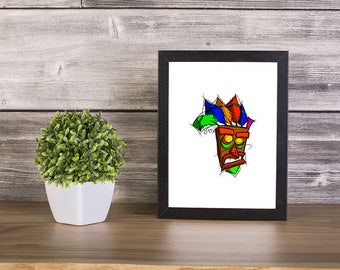 Aku Aku from Crash Bandicoot Digital Drawing, Digital Print, Decoration, Crash Bandicoot Art, Games Art, Videogames Illustration