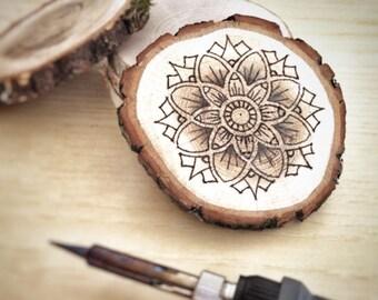 Mandala Handmade Drawing on Wood, Pyrography, Wood Burning, Decoration, Meditation, Yoga, Mandala Art, Sacred Geometry, Zen Art