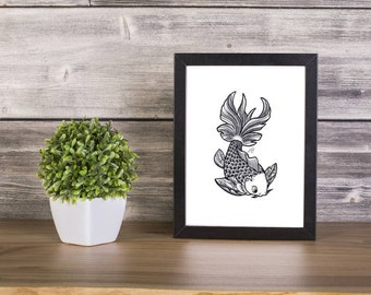 Fish Handmade Drawing, Digital Print, Art Print, Made in pencil, charcoal and ink, Tattoo Sketch, Tattoo Flash