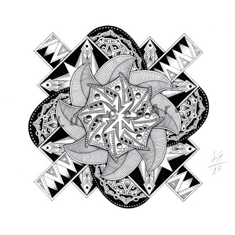 Mandala Dibujo Hecho A Mano Descarga Inmediata Decoración Etsy