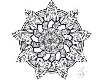 Mandala handmade Drawing, Instant Download, Decoration, , Made in pencil and ink, Mandala Art, Sacred GeometryDigital Print