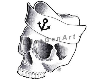 Sailor Skull Handmade Drawing, Instant Download, Digital Print, Made in pencil and ink, Tattoo Sketch, Tattoo Flash