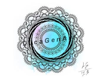 Mandala Digital Drawing, Instant Download, Decoration, Digital Print, Meditation, Yoga, Mandala Art, Sacred Geometry, Zen Art