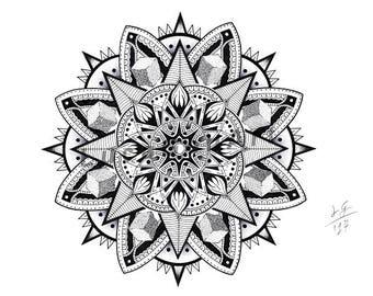 Mandala handmade Drawing, Instant Download, Decoration, Digital Print, Made in pencil and ink, Mandala Art, Sacred Geometry